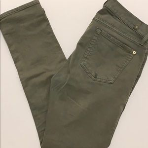 7 for All Mankind Army Green Button-fly Jeans 26